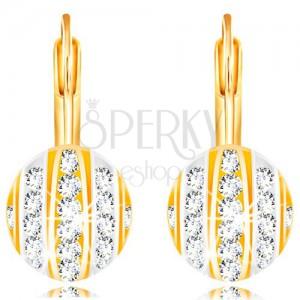 Cercei din aur 14K - jumătate bilă cu dungi din aur alb și galben, zirconii transparente