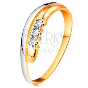 Inel cu diamant din aur 18K, brațe ondulate bicolore, trei diamante transparente