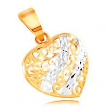 Pandantiv din aur 585 - inimă rotunjită decorată cu filigran și linii curbate din aur alb