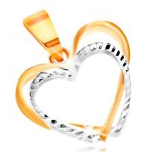 Pandantiv din aur 14K - două contururi inimă din aur galben și alb, raze