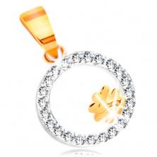 Pandantiv din aur 14K în două culori - trifoi cu patru foi în bandă cu zirconii transparente