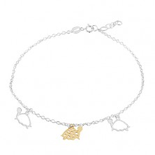Brățară pentru picior din argint 925, trei țestoase aurii și argintii