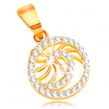 Pandantiv din aur 585 - spirală lucioasă cu zirconiu transparent, raze fine lucioase