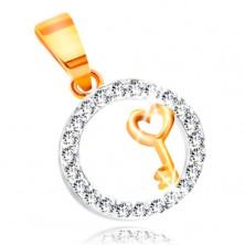 Pandantiv din aur 585 - cheie cu inimă pe o bandă din zirconiu transparent