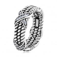 Inel din argint 925, patinat, model funie răsucită, cruci cu zirconii