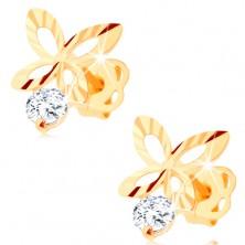Cercei din aur 585 cu diamant - contur fluture strălucitor, diamant transparent