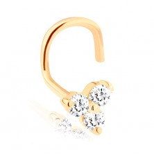 Piercing de nas din aur galben 14K - trei diamante transparente strălucitoare