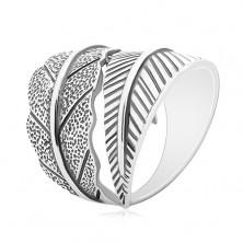 Inel din argint 925, frunză curbată mare, patină gri