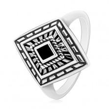 Inel din argint 925, romb patinat cu email negru în mijloc