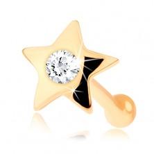 Piercing nas din aur de 14K - forma de stea, cu diamant