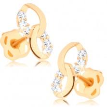 Cercei din aur de 14K - două elipse unite, linii cu diamante
