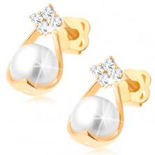 Cercei din aur 585 - patru diamante, forma de lacrima cu o perlă