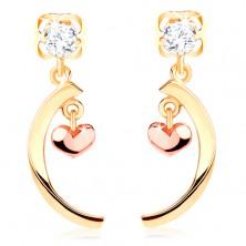 Cercei din aur de 14K cu diamante - forma de arc cu o mică inimă