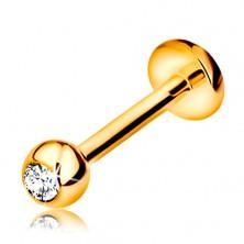 Piercing pentru buză sau bărbie, din aur 585 - bilă cu diamant, 8 mm