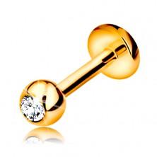 Piercing buză sau bărbie din aur 14K - bilă cu diamant, 6 mm