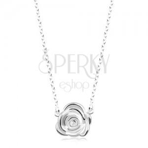Colier din argint 925 - lanț strălucitor și trandafir