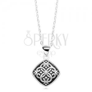 Colier din argint 925, pandantiv negru cu ornamente