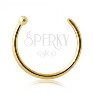 Piercing din aur de 9K pentru nas - cerc strălucitor cu bilă la un capăt