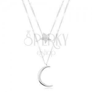 Colier din argint 925, cu lanț dublu, stea și lună