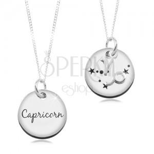 Colier din argint 925 - lanț și pandantiv rotund - zodia Capricorn