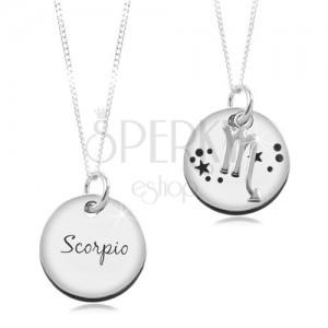 Colier din argint 925 - lanț și pandantiv rotund - zodia Scorpion