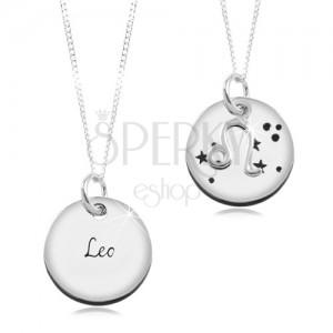 Colier din argint 925 - lanț și pandantiv rotund - zodia Leu