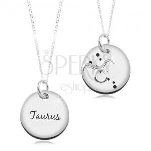 Colier din argint 925 - lanț și pandantiv rotund - zodia Taur