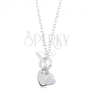 Colier din argint 925 - inimă netedă și inimioară cu zirconii