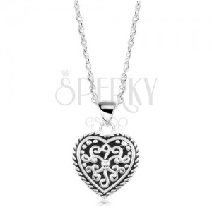 Colier din argint 925 - inimă cu smalț negru și ornamente
