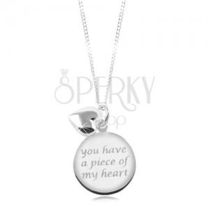 Colier din argint 925, lanț strălucitor, pandantiv rotund cu inscripție, inimă