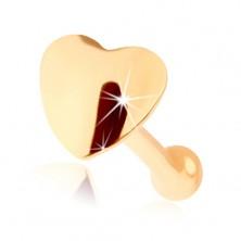 Piercing din aur de 14K pentru nas - forma dreaptă, inima rotunjită
