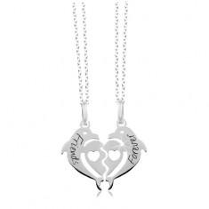 Două coliere din argint 925 - două jumătăți de inimă