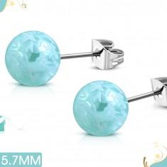 Cercei din oţel de 316L, bile acrilice albastru deschid cu model floral
