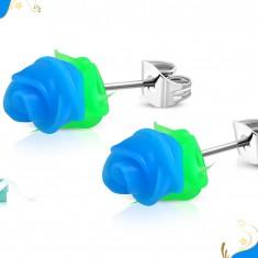 Cercei din oțel, trandafiri din silicon albastru