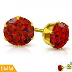 Cercei din oțel inox de culoare aurie, zirconiu roșu în montură, 5 mm