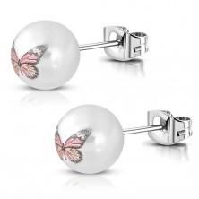 Cercei din oțel inox culoare argintie cu bilă albă cu fluture