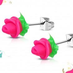 Cercei din oțel, trandafiri din silicon roz