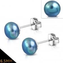 Cercei din oțel 316L, bilă albastru cu gri sidefat, 6,5 mm