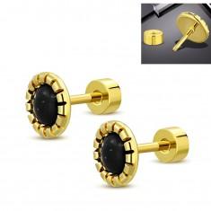 Cercei din oțel auriu, o floare cu mijloc negru