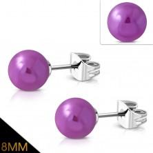 Cercei din oțel inoxidabil, bile violet cu reflexii metalice