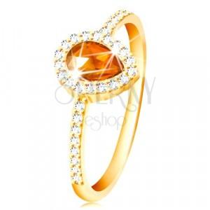 Inel din aur galben de 14K - zirconiu portocaliu în formă de lacrimă, zirconii transparente