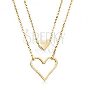 Colier din oțel inoxidabil auriu, inimă mică și contur de inimă mare, două lanțuri