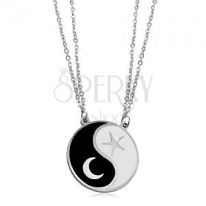 Coliere din oțel, două lanțuri, simbolul Jin Jang, o lună și o stea