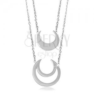 Colier din oțel inoxidabil argintiu, stea mică și contur de stea mare, două lanțuri