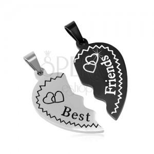 Pandantive din oțel Best Friends - două jumătăți de inimă, două culori