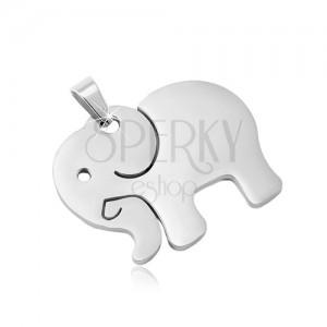 Pandantiv din oțel inoxidabil argintiu, elefant cu suprafața mată și decupaje
