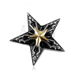 Pandantiv din oțel, stea mare neagră cu o stea mai mică aurie în mijloc