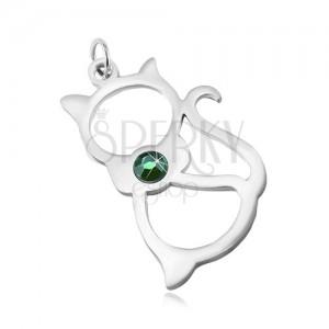 Pandantiv din oțel inoxidabil argintiu, contur de pisică și zirconiu verde