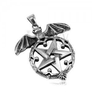 Pandantiv din oțel 316L patinat, liliac și pentagramă în cerc decorativ