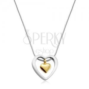 Colier din oțel inoxidabil, inimă aurie plasată în contur de inimă